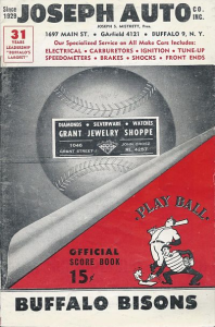 1960 Buffalo Bisons Program