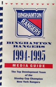 1994-95 Binghamton Rangers Media Guide