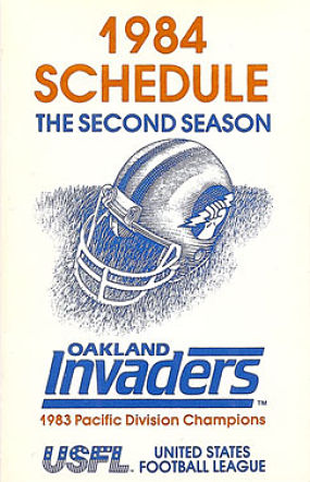 1984 Oakland Invaders Pocket Schedule