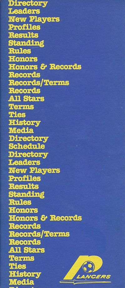 1978 Rochester Lancers Media Guide